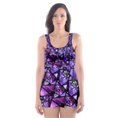 Blue purple Shattered Glass Skater Dress Swimsuit by KirstenStar