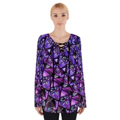 Blue purple Shattered Glass Women s Tie Up Tee by KirstenStar