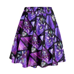 Blue Purple Shattered Glass High Waist Skirt by KirstenStar