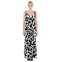 Black And White Blots  Maxi Thigh Split Dress by KirstenStar