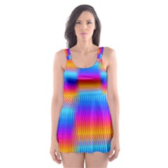 Psychedelic Rainbow Heat Waves Skater Dress Swimsuit by KirstenStar