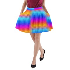 Psychedelic Rainbow Heat Waves A Line Pocket Skirt by KirstenStar
