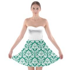 Emerald Green Damask Pattern Strapless Dresses by Zandiepants