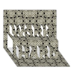 Interlace Arabesque Pattern Work Hard 3d Greeting Card (7x5)  by dflcprints