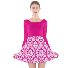 Hot Pink Damask Pattern Long Sleeve Velvet Skater Dress by Zandiepants
