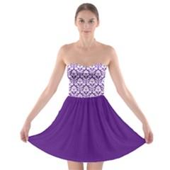 Royal Purple And White Damask Pattern Strapless Dresses by Zandiepants