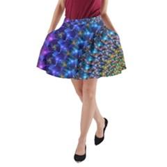 Blue Sunrise Fractal A Line Pocket Skirt by KirstenStar