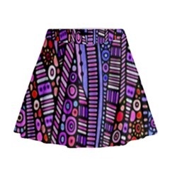 Stained glass tribal pattern Mini Flare Skirt by KirstenStar