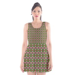 Christiane Xandra Small Pattern Green Red Yellow Scoop Neck Skater Dress by CircusValleyMall