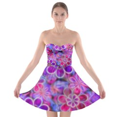 Pretty Floral Painting Strapless Dresses by KirstenStar