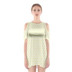 Small Yellow Hearts Pattern Cutout Shoulder Dress