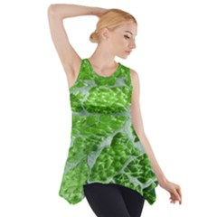 Festive Chic Green Glitter Shiny Glamour Sparkles Side Drop Tank Tunic by yoursparklingshop