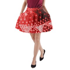 Red Fractal Lace A Line Pocket Skirt by KirstenStar