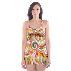 Sunshine Swirls Skater Dress Swimsuit by KirstenStar