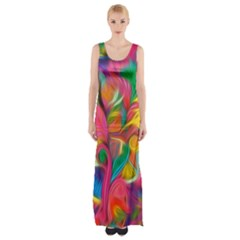 Colorful Floral Abstract Painting Maxi Thigh Split Dress by KirstenStar