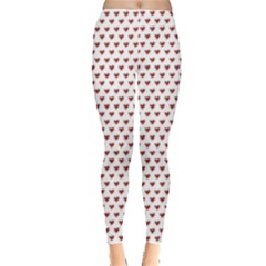 Ruby Red Small Hearts Pattern Leggings  by CircusValleyMall