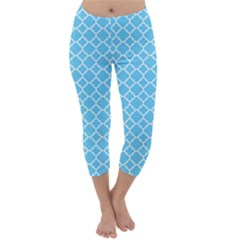 Bright Blue Quatrefoil Pattern Capri Winter Leggings  by Zandiepants