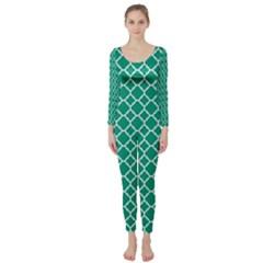 Emerald Green Quatrefoil Pattern Long Sleeve Catsuit by Zandiepants