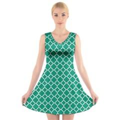 Emerald green quatrefoil pattern V-Neck Sleeveless Dress by Zandiepants
