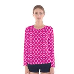 Hot Pink Quatrefoil Pattern Women s Long Sleeve Tee by Zandiepants
