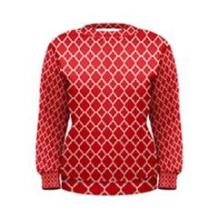 Poppy Red Quatrefoil Pattern Women s Sweatshirt by Zandiepants