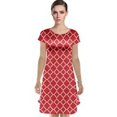 Red White Quatrefoil Classic Pattern Cap Sleeve Nightdress by Zandiepants