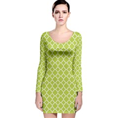 Spring green quatrefoil pattern Long Sleeve Velvet Bodycon Dress by Zandiepants