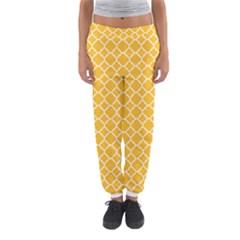 Sunny Yellow Quatrefoil Pattern Women s Jogger Sweatpants by Zandiepants