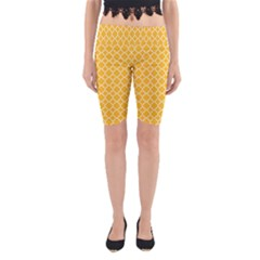 Sunny yellow quatrefoil pattern Yoga Cropped Leggings by Zandiepants