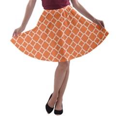 Tangerine Orange Quatrefoil Pattern A Line Skater Skirt by Zandiepants