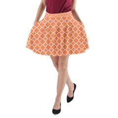 Tangerine orange quatrefoil pattern A-Line Pocket Skirt by Zandiepants