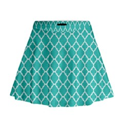 Turquoise Quatrefoil Pattern Mini Flare Skirt by Zandiepants