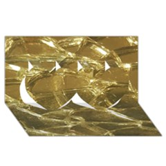Gold Bar Golden Chic Festive Sparkling Gold  Twin Hearts 3d Greeting Card (8x4)  by yoursparklingshop