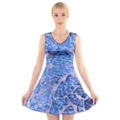 Festive Chic Light Blue Glitter Shiny Glamour Sparkles V-Neck Sleeveless Skater Dress