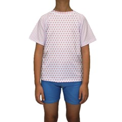 Soft Pink Small Hearts Pattern Kid s Short Sleeve Swimwear by CircusValleyMall