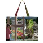 zippered tote through the window - Large Tote Bag
