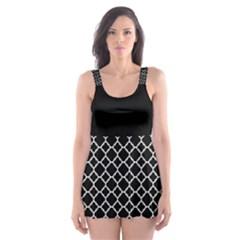 Black White Quatrefoil Classic Pattern Skater Dress Swimsuit by Zandiepants