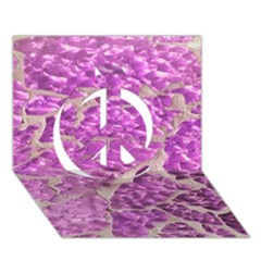 Festive Chic Pink Glitter Stone Peace Sign 3d Greeting Card (7x5)  by yoursparklingshop