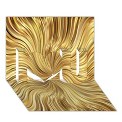 Chic Festive Elegant Gold Stripes I Love You 3d Greeting Card (7x5)  by yoursparklingshop