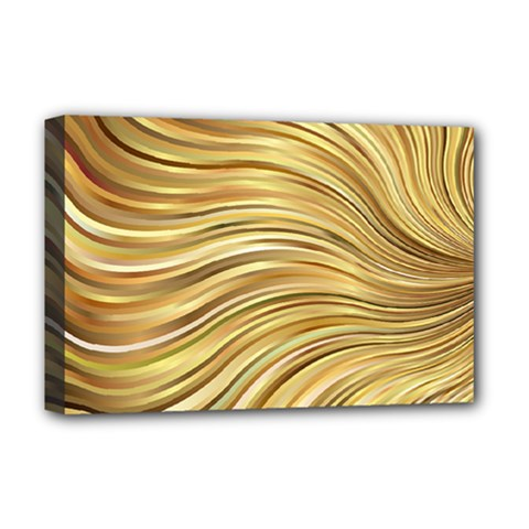 Chic Festive Gold Brown Glitter Stripes Deluxe Canvas 18  X 12   by yoursparklingshop