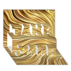 Chic Festive Gold Brown Glitter Stripes Take Care 3d Greeting Card (7x5)  by yoursparklingshop