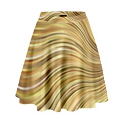 Chic Festive Gold Brown Glitter Stripes High Waist Skirt by yoursparklingshop