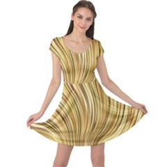 Gold Stripes Festive Flowing Flame  Cap Sleeve Dresses by yoursparklingshop