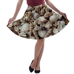 Tropical Sea Shells Collection, Copper Background A Line Skater Skirt by yoursparklingshop