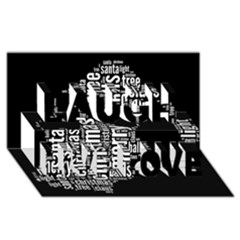 Funny Santa Black And White Typography Laugh Live Love 3d Greeting Card (8x4)  by yoursparklingshop
