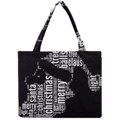 Funny Santa Black And White Typography Mini Tote Bag by yoursparklingshop