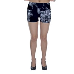 Funny Santa Black And White Typography Skinny Shorts by yoursparklingshop