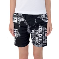 Funny Santa Black And White Typography Women s Basketball Shorts by yoursparklingshop