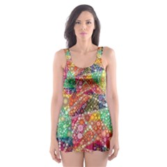 Colorful Chemtrail Bubbles Skater Dress Swimsuit by KirstenStar