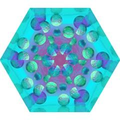 Ocean Dreams, Abstract Aqua Violet Ocean Fantasy Mini Folding Umbrellas by DianeClancy